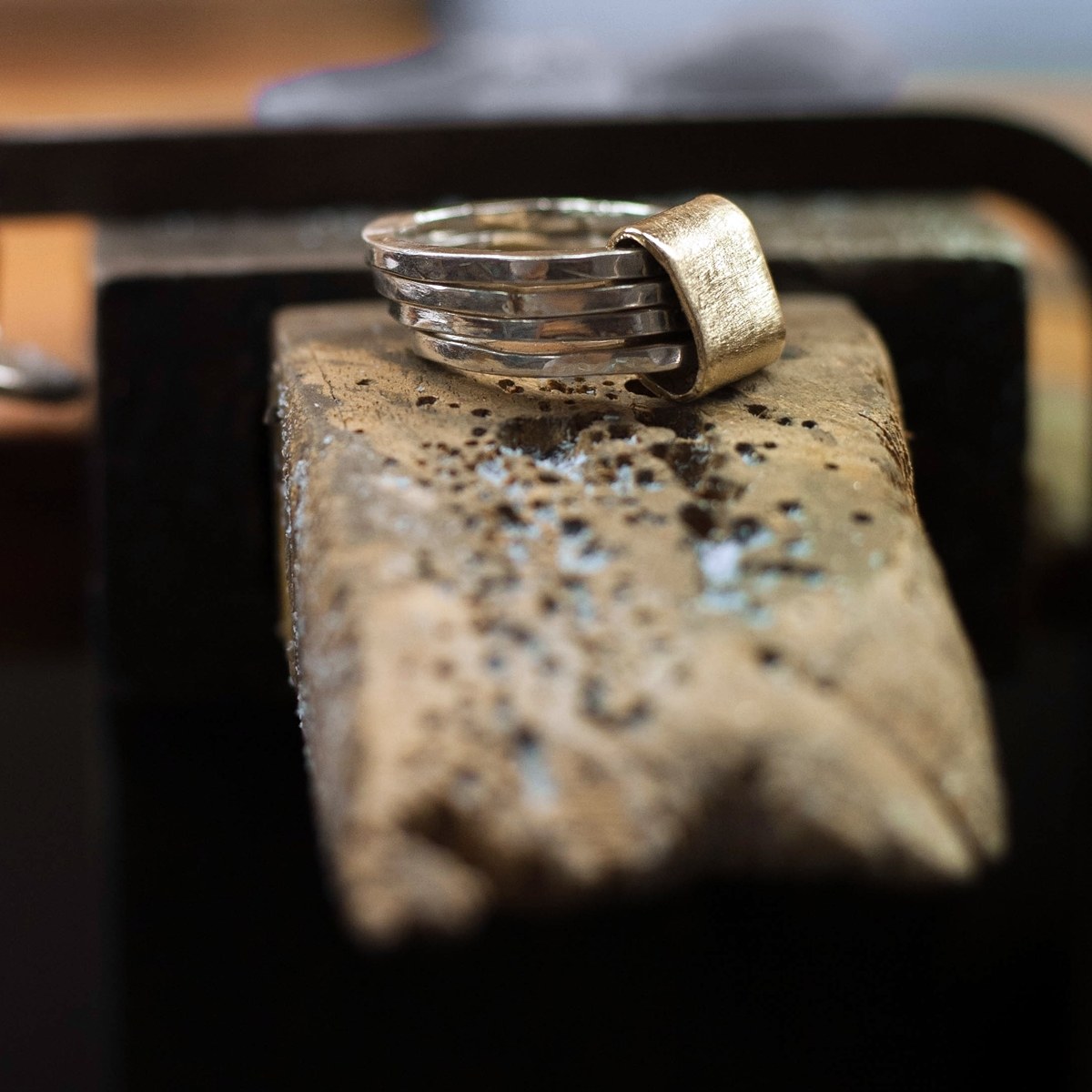 SILVER AND GOLD MULTI RING